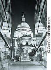 St Pauls Cathedral and reflections at night