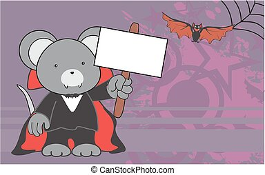 cute mouse dracula costume copyspace in format