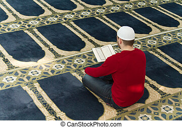 Muslim Man Is Praying In The Mosque - Photo of the Muslim...