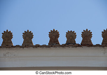 Rooftop with Akrokeramo, ceramic decorative antefix