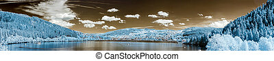 Mountain lake panoramic view in infra-red, France