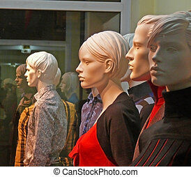 Dummies in a show-window of shop