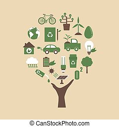 eco hand - hand with ecological icons, environment concept