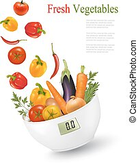 Fresh vegetables with in a weight scale Diet concept Vector...
