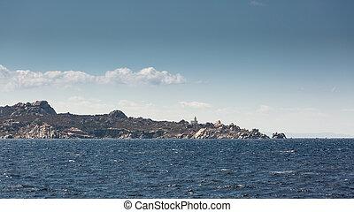 Lighthouse on coast of Sardinia near Santa Teresa Gallura -...