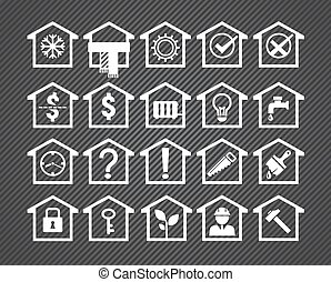 20 house icons - house icons, different aspects of real...