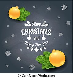 Merry Christmas greetings logo on chalkboard. Chrictmas...