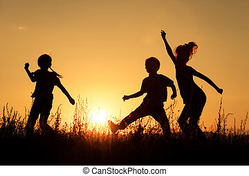 Happy children playing in the park.