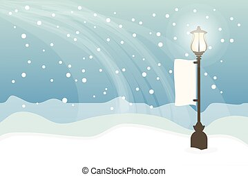 Snowy with lamppost, Christmas background