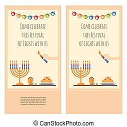 Happy Hanukkah greeting card design, snowing holiday template for party invitation. Hebrew letters on a Hanukkah dreidel, which stand for the phrase, A great miracle happened here