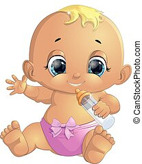small baby with a bottle painted on a white background