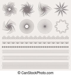Set Guilloche pattern, border, watermark - Set (collection)...