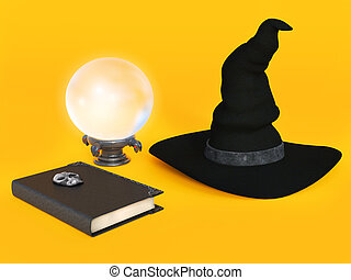 Witch hat, spell book and crystal ball - A witch hat, spell...