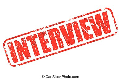 INTERVIEW red stamp text on white
