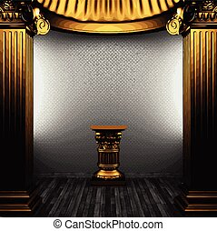 vector golden columns and arch