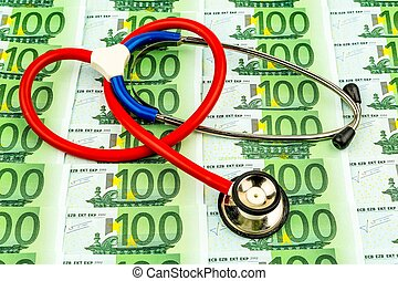 stethoscope and euro banknotes. photo icon for health care...