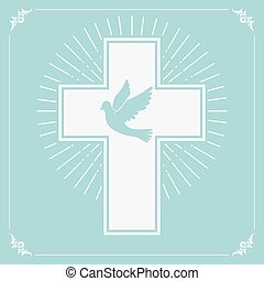 cross.eps - dove and a cross on a light olive background....