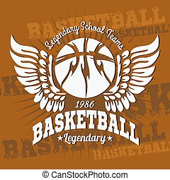 Basketball emblem for T-shirts, Posters, Banners, Prints -...