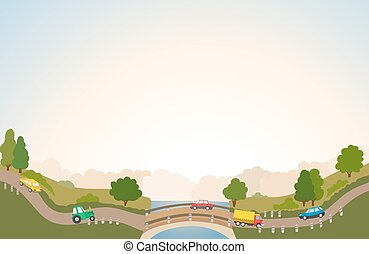 rural landscape with road and cars, river and bridge, trees and clouds. vector