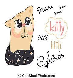 Funny kitty - Illustration of a cute cat dressed in a warm...