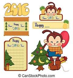 Set of cute Christmas monkey