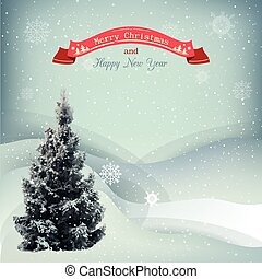 Winter Christmas landscape vector background with snow...