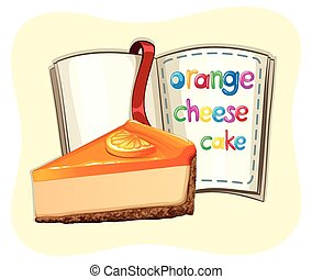 Orange cheesecake and a book illustration