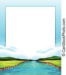Border design with river scene