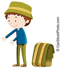 Man standing next to backpack illustration