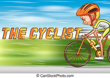 Cyclist riding bike on the road