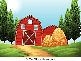 Barns and haystack in the farmland illustration