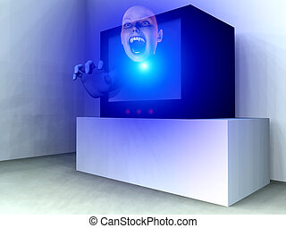 TV Hand - An image of a haunted television set with a...