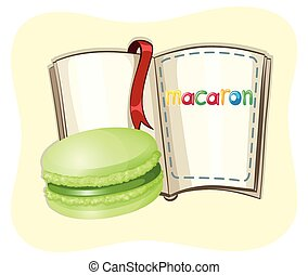 Green tea macaron and a book illustration