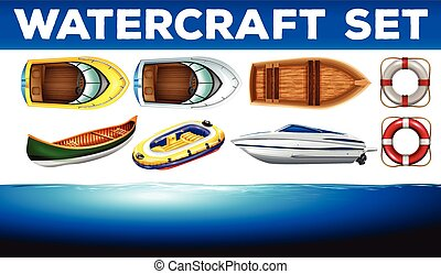 Different kind of watercrafts
