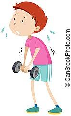 Weak man lifting weight