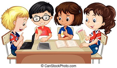 Boys and girls working in group illustration