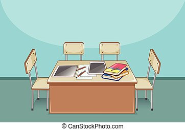 Empty classroom with books on the table