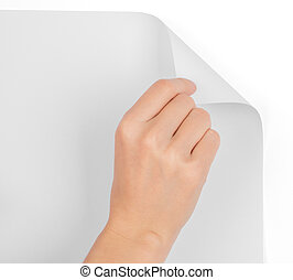 Womans hand turning blank page