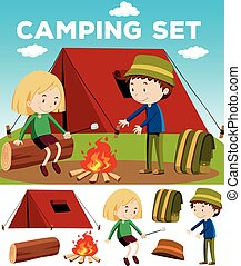 Boy and girl camping out illustration