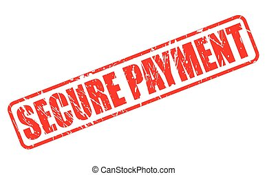 SECURE PAYMENT red stamp text on white
