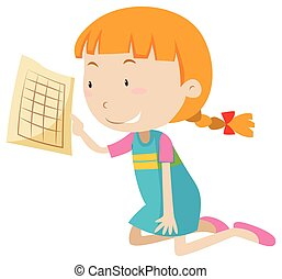 Girl holding graph paper illustration