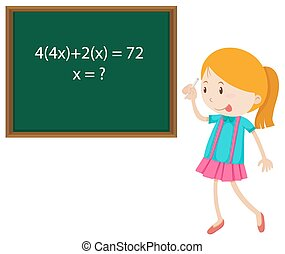 Little girl solving math problem