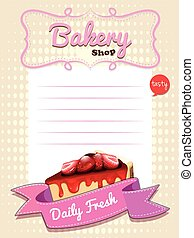 Paper design with strawberry cheesecake illustration