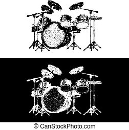 drum kit - Vector illustration of a drum set drawing...