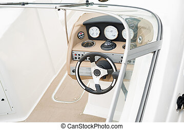 Interior of yacht cabin, close up view