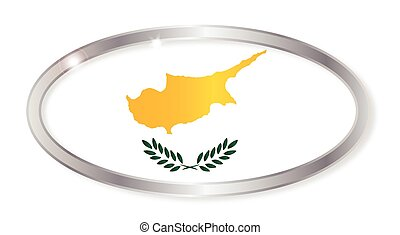 Cyprus Flag Oval Button
