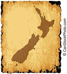 New Zealand Map - A parchment background with silhouette of...
