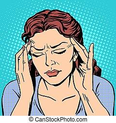 Medicina, mujer, salud, dolor de cabeza