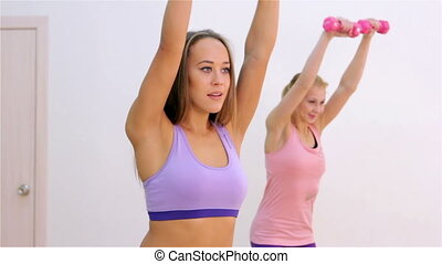 Fitness. Aerobics with dumbbells - Young women doing...