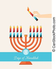 eight days of Hanukkah jewish holiday hand with candle...